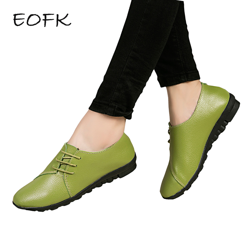 EOFK Women Flats 2018 Autumn Spring Soft Comfortable Genuine Leather Flat Shoes Woman Lace Up Female Casual Shoes Plus size 41 guvoosm new autumn full genuine leather women flats female lace up loafers casual handmade rubber shoes woman big size 36 43