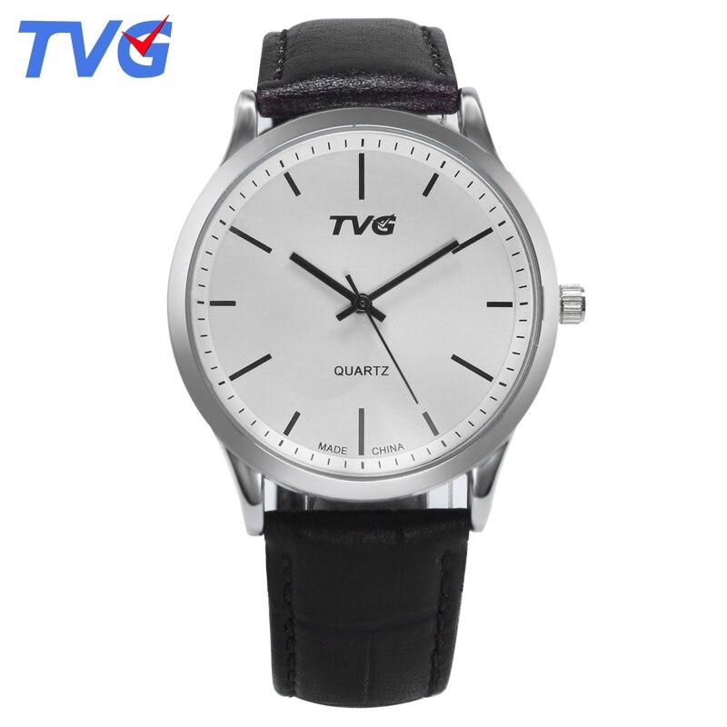e722e1c48e4 Marca de moda de Luxo TVG Homens Simples Big Dial Relógio de Pulso dos  homens de Negócios Relógio De Quartzo Masculino Relógios À Prova D  Água  Relogio ...