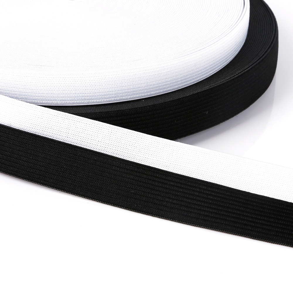 5 Yards Flat Elastic Band Sewing Ribbon For DIY Homemade Clothing Accessories White Black 0.6/0.8/1/1.2/1.5/2/2.5cm