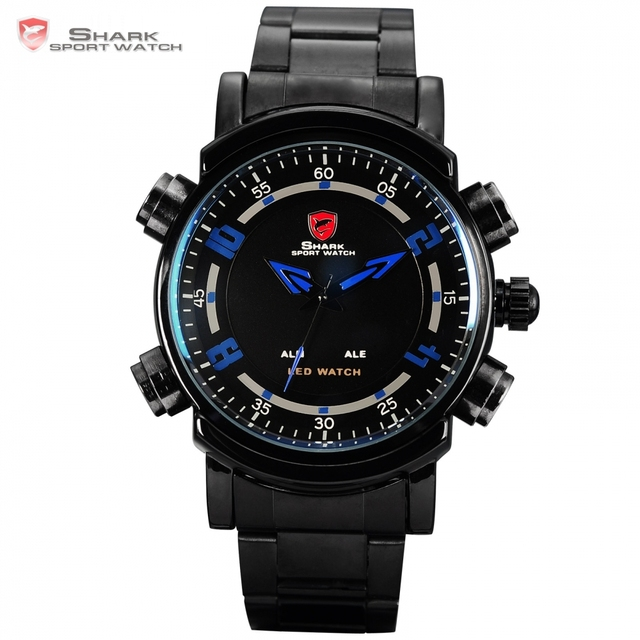 Basking SHARK Sport Watch Blue Dual Time Display Date Alarm Black Stainless Steel Band LED Digital Mens Wristwatch Gift / SH065