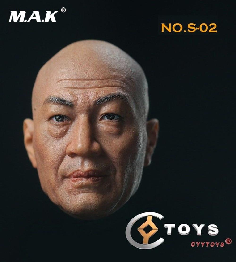1/6 Male Head Sculpt 1/6 S-02 Shi Zhaoqi Head Sculpt Chinese Bald Actor Head Model Fit 12 Action Figure Body lacywear s 271 shi
