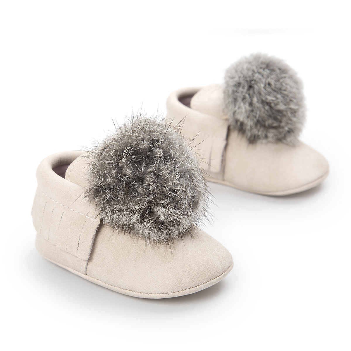 3b7f7d8feaba ... 2018 Brand Newborn Baby Girls Pom Pom Shoes Cute Boots Warm Slippers  Crib Shoes ...