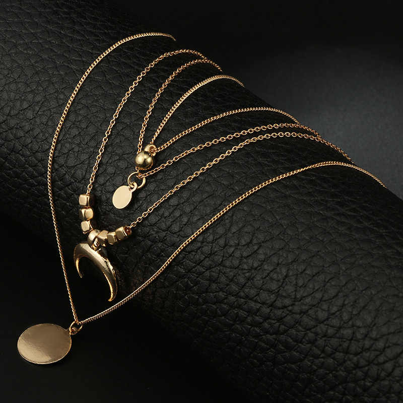Gold Color Chain Necklaces for Women Long Moon Tassel Pendant Chain Necklaces & Pendants Laces Velvet Chokers Fashion Jewelry