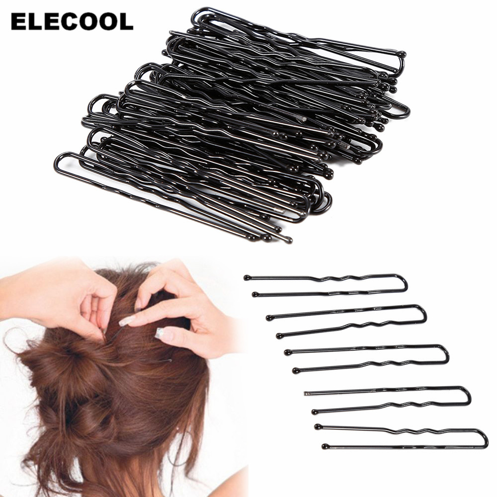 ELECOOL 50Pcs Black Metal Hairstyling Thin Shape U Clips 5cm Bobby Pins Hair Curly Twist Wavy Grips DIY Styling Hairpins Kits
