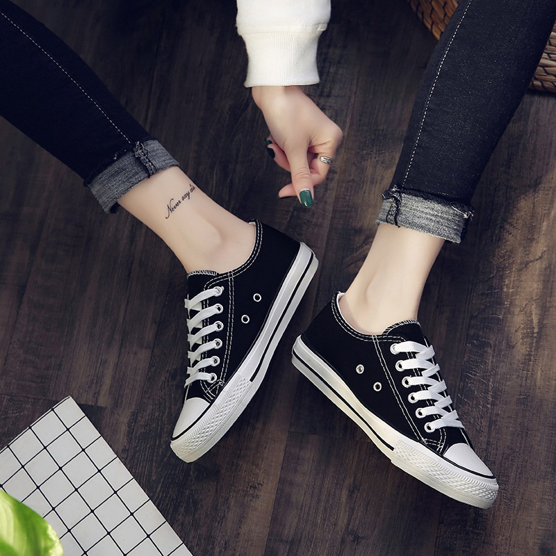 Factory Direct Canvas Women 39 s Shoes Student Leisure Flat Bottom Low top Breathable Skateboard Shoes female most classic style in Women 39 s Flats from Shoes