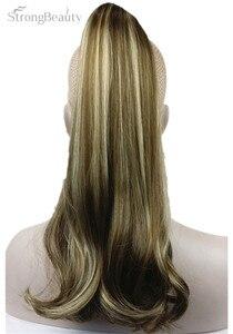 Image 2 - StrongBeauty 45 cm syntetyczne długie przypinany kucyk w kucyk ogon klipsy do przedłużania włosów na włosy proste Style 17 kolor