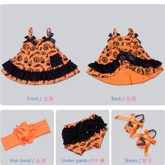 2016 verano nuevo bebé de algodón de alta calidad de Halloween 4 unids conjunto paño Wawa shorts + vestido + venda + zapatos