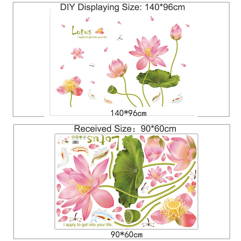 Modern Pink Lotus Flower Wall Stickers