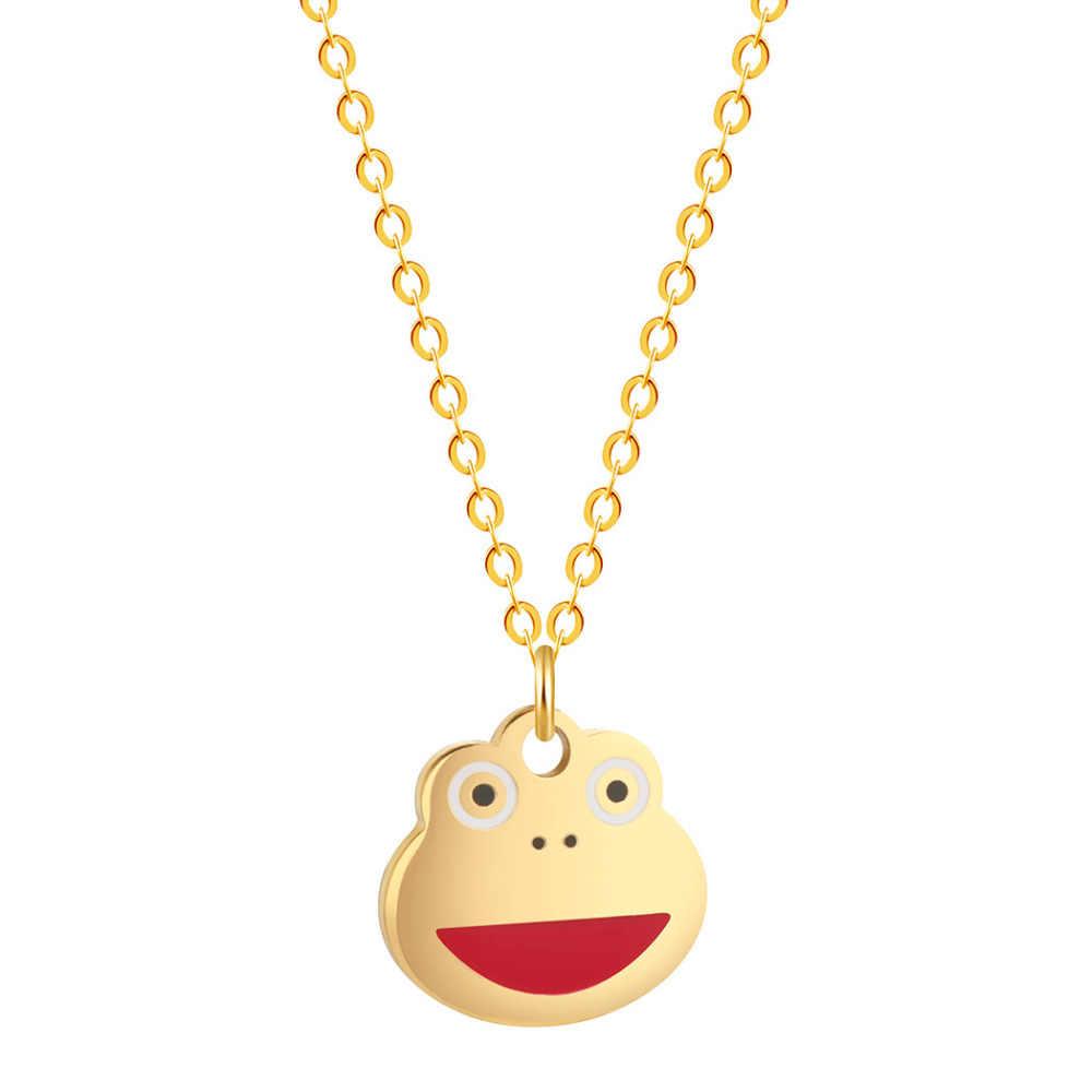QIAMNI Handmade Cartoon Expression Face Emoji Necklace for Women Fish Star Rabbit Penguin Choker Collars Necklace Birthday Gifts