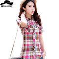 New Women Tops Fashion Summer Shirts Short Sleeve Tops Plaid Ladies Blusas Cotton Shirt Blouse Womens Clothing Plus Size