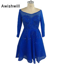Robes Cocktail Courte Femme 2018 Custom made Beadings Sequins With Sleeves Mini Homecoming Party Gowns Royal