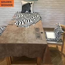 Fashion Dining Table Cloth Rectangular Zebra Printed Tablecloth Black White Khaki Color Table Decoration recycled earth friendly outdoor patio round dining table khaki