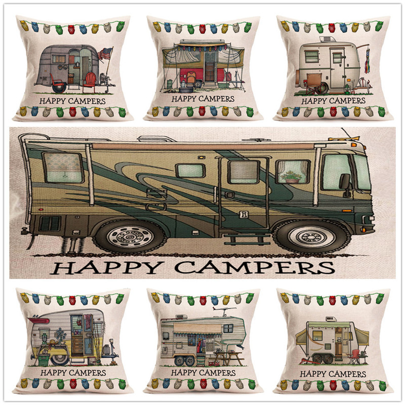 Happy Campers Pillow Case Square Cotton Linene Cushion Cover Cut Bus Waist Car Seat Chair Sofa Throw Pillowcase Gifts Home Decor