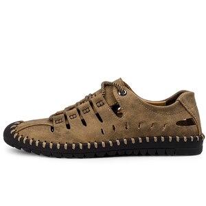 Image 3 - 2019 neue Sommer Männer Aus Echtem Leder Sandalen Business Casual Schuhe Männer Im Freien Strand Sandalen Römischen Männer Sommer Wasser Schuhe Größe 48