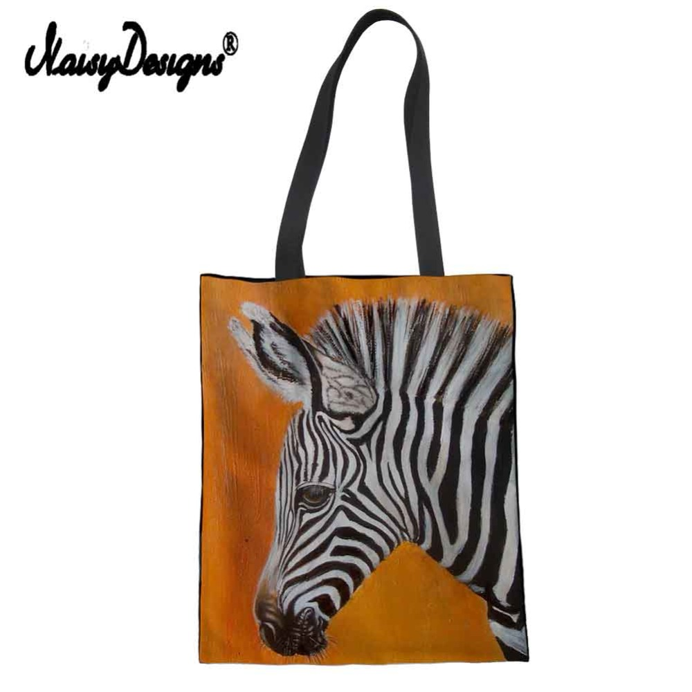 Zebra Painting Reusable Cotton Grocery Shopping Bag Handbags Canvas Tote Bags Webshop Eco Foldable Draw String Bags
