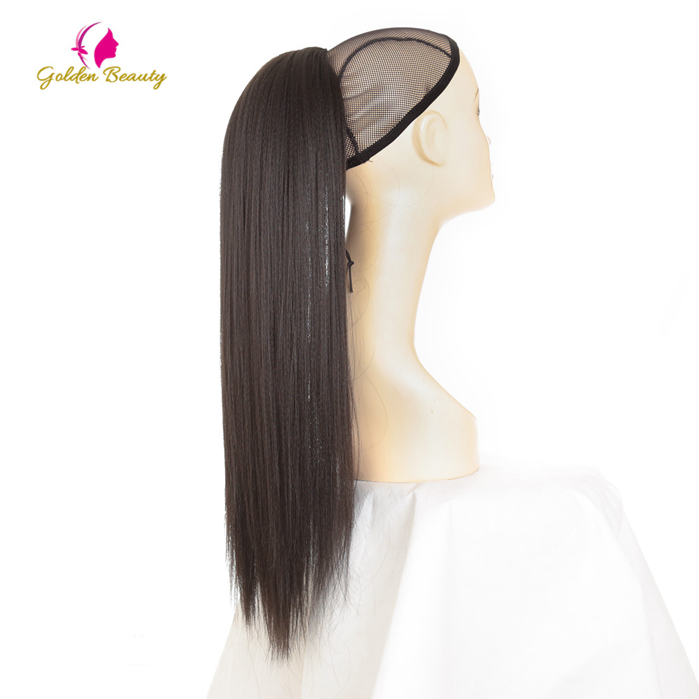Golden Beauty Drawstring Ponytail Synthetic Clip In Hair Extensions 24inch Long Yaki Straight Wrap Around Women's Hairpieces