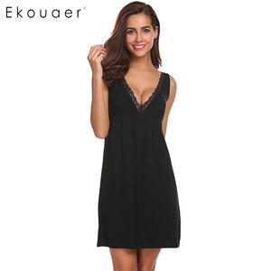 Image 2 - Ekouaer Night Dress Women Sexy Chemise Lingerie Nightgowns V Neck Sleeveless Lace Trimmed Nighties Sleepwear Nightdress 3 Colors