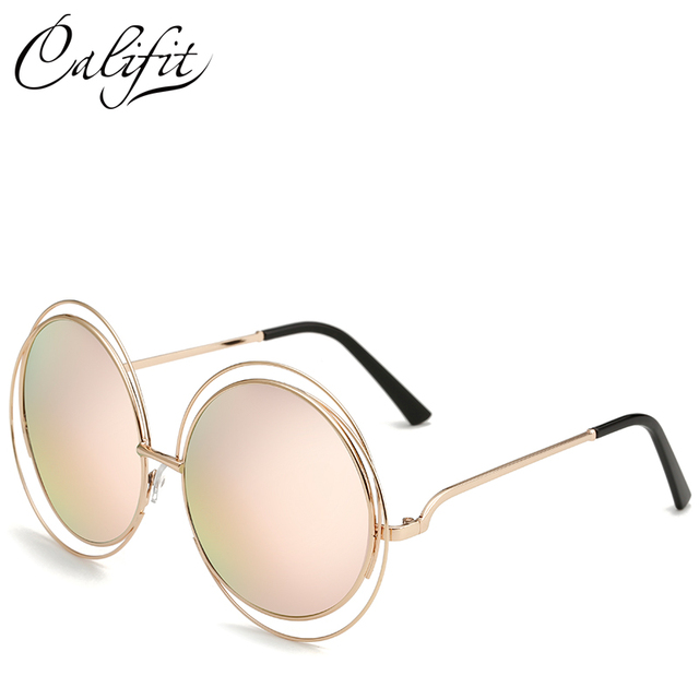 CALIFIT Ladies Oversized Mirror Round Sunglasses Women Vintage