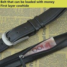 إخفاء سستة حزام يمكن وضع المال الطبقة العليا حزام جلد الرجال دبوس مشبك حزام مصمم سر جيب حزام المال المخفية