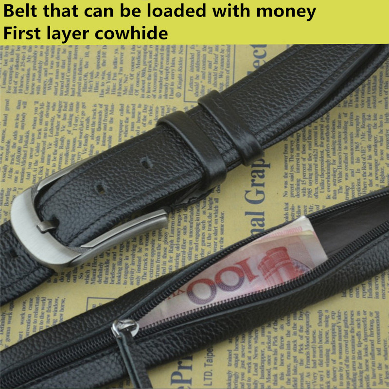 Belt Pocket-Strap-Hidden-Money Secret Designer Hide Pin-Buckle-Belt Men Can-Put-Money title=