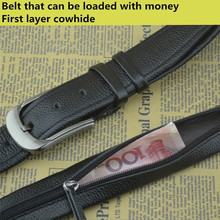 Hide zipper belt can put money top layer leather belt mens pin buckle belt Designer Secret Pocket Strap Hidden Money