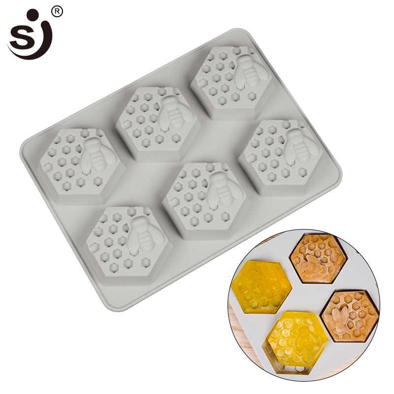 SJ 1 шт. 6 полости силиконовые формы мыло с изображением пчелы Плесень Свеча кубик льда ручной работы мыло формы печенье шоколад десерт помадные формы