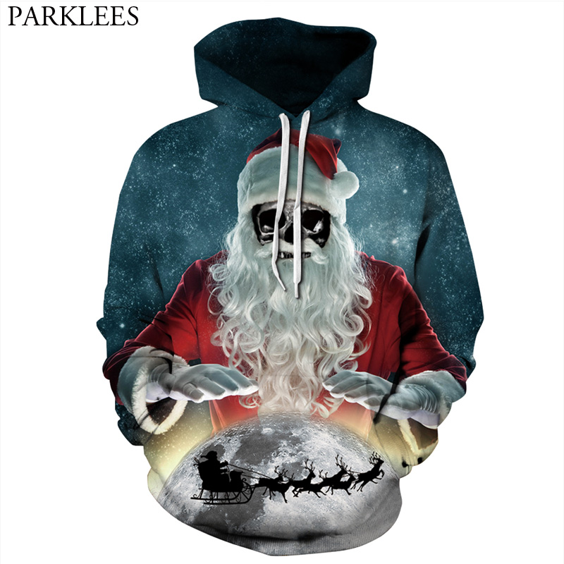 3D Hoodies Sweatshirts Men Women Sweat Homme 2017 Funny Skull Santa Claus Print Hoodie Sweatshirt Men Hip Hop Tracksuit Pullover