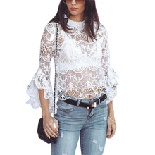 Women Blouses Fashion Openwork Perspective Lace Trumpet Sleeves Tops Women See Through Top Women Sexy Shirt Long Sleeve O-neck khaki see through lace round neck long sleeves top