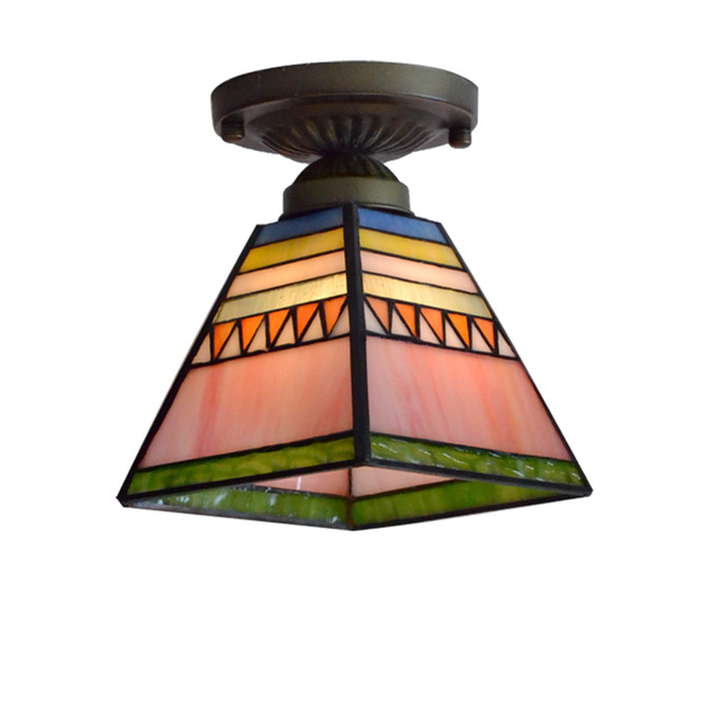 Tiffany Pyramid Corridor Ceiling Light Colorful Glass Bedroom Ceiling Lamp  Balcony Hallway Porch Ceiling Lighting Fixtures