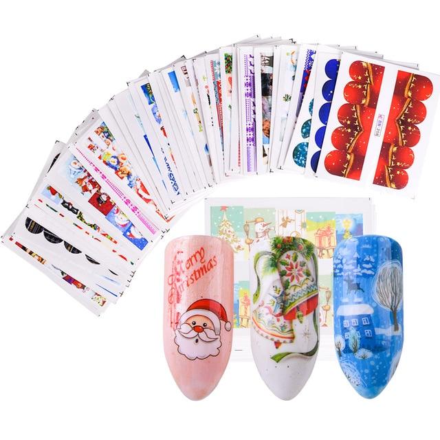 48pcs Christmas Nail Art Sticker Full Colorful Wraps Stamp Snowflake