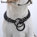 13mm wide Customize Length Black Tone Cut Curb Cuban Link 316L Stainless Steel Dog Chain Collar DC09