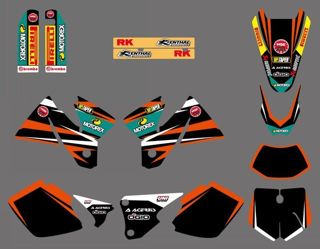 GRAPHICS WITH MATCHING BACKGROUNDS Sticker For KTM EXC 125 200 250 300 380 400 1998 1999