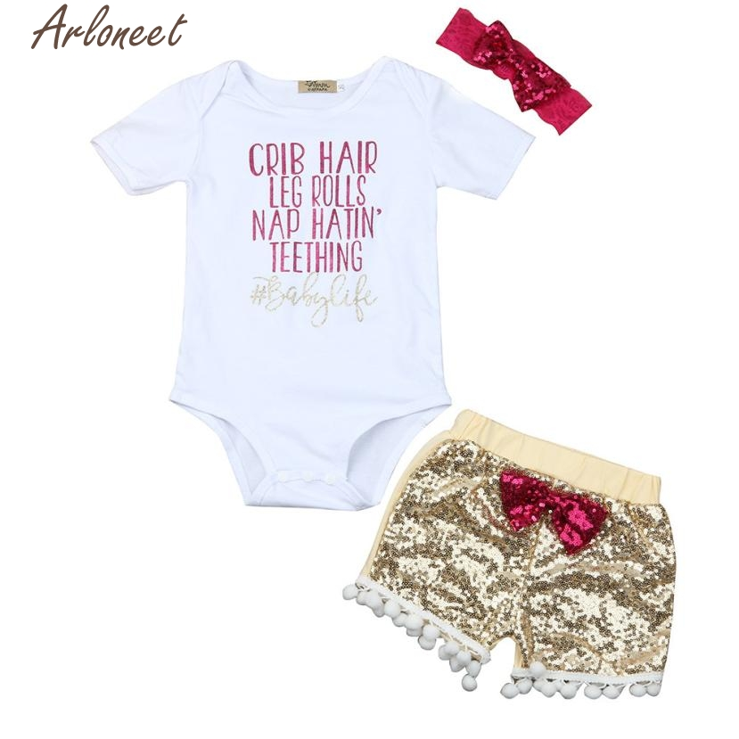 ARLONEET Fashion Christmas Pajamas New Year 2018 Newborn Baby Girl Letter Tops Romper Sequin Shorts Pants Outfits Set Clothes #