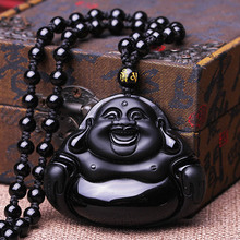 цена на Dropshipping Chinese Carving Natural Black A Obsidian Buddha Pendant Maitreya Necklace For Women fine Jewelry Wholesale Gift