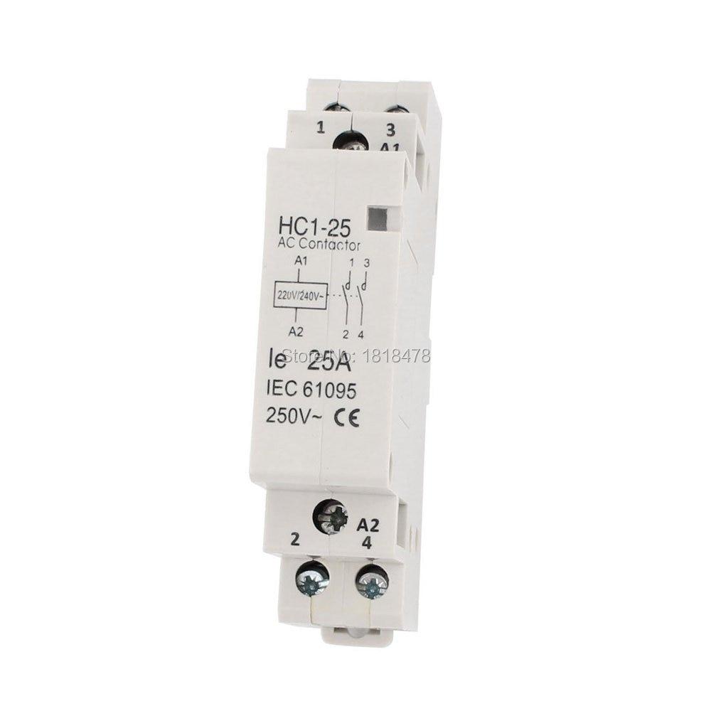 Household AC 220//240V Coil 25A AC 250V 2P Enclosed AC Contactor HC1-25