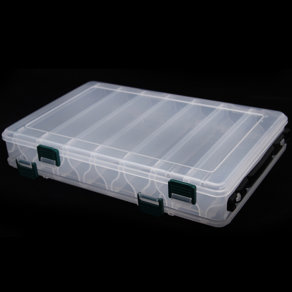 14 compartments double sided transparent plastic fly for Fly fishing box