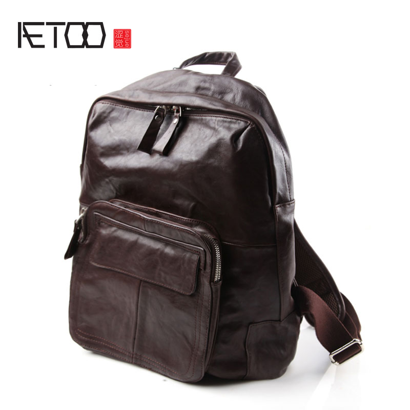AETOO Fashion retro Europe and the United States Japan and South Korea leisure pure leather shoulder bag leather brief men backp