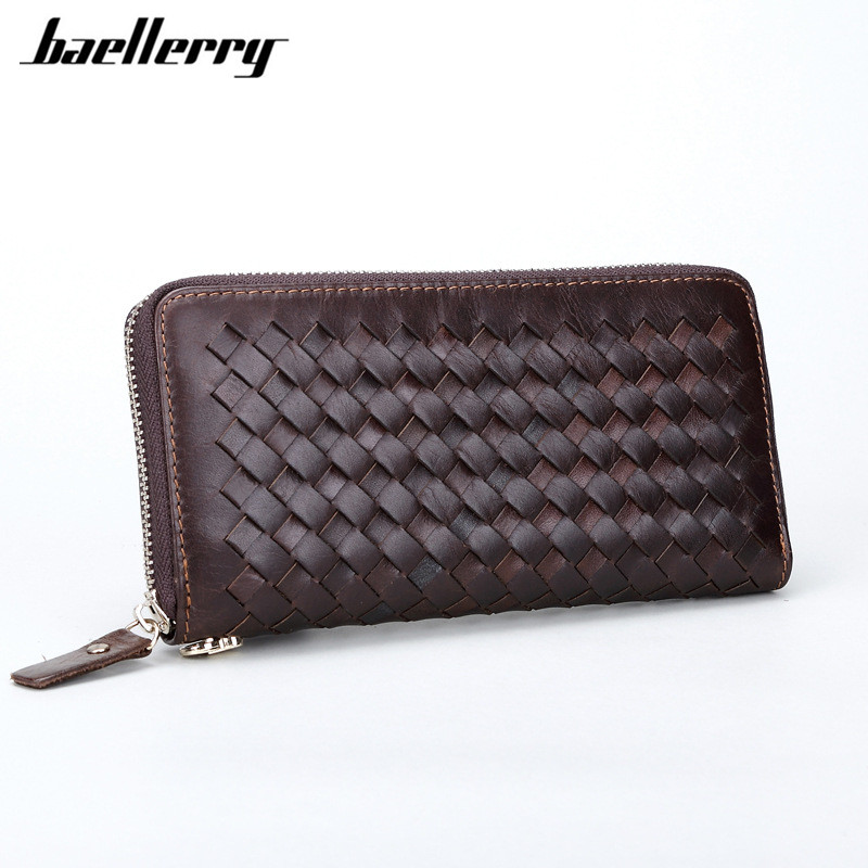 Vintage Long Men Wallets Wristlet Knitting Genuine Leather Wallet Coin Purse Card Holders Male Clutch Large Capacity Wallets Bag new arrival 2017 wallet long vintage man wallets soft leather purse clutch designer card holders business handbags clips