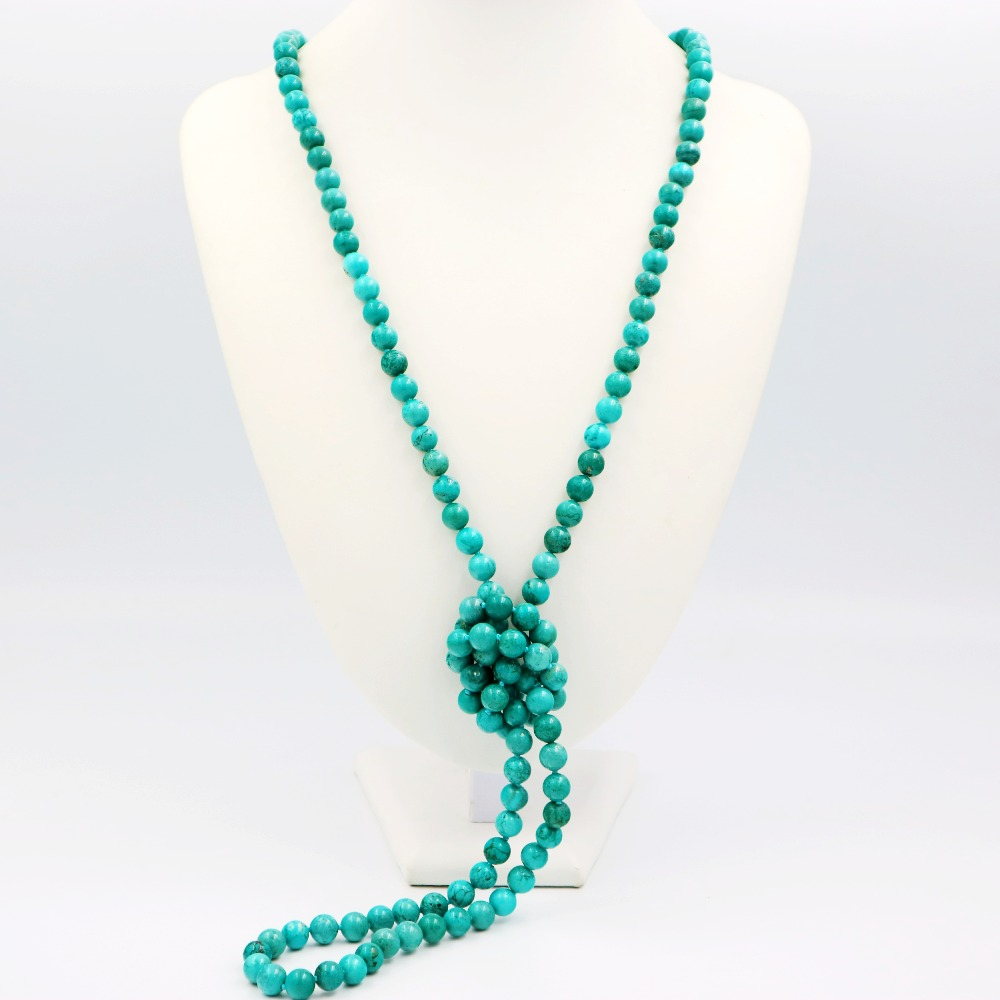 LiiJi Unique Fashion Necklace Green Turquoises 8mm Round Beads Long Sweather Necklace 51/130cm