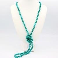 Liiji уникальные модные Цепочки и ожерелья зеленой бирюзы 8 мм круглый Бусины долго Sweather Цепочки и ожерелья 51 ''/130 см