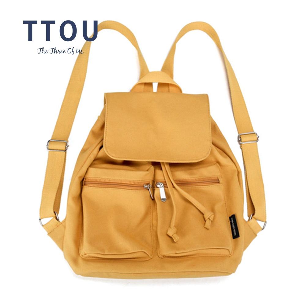 TTOU Canvas Backpack School Rucksack For Girls Drawstring Backpacks Women Travel Shoulder Bagpack Teenagers Laptop Backpack