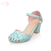 Chainingyee party style round toe summer sandals hollow out rhinestone belt buckle blue pink white high heel women's shoes