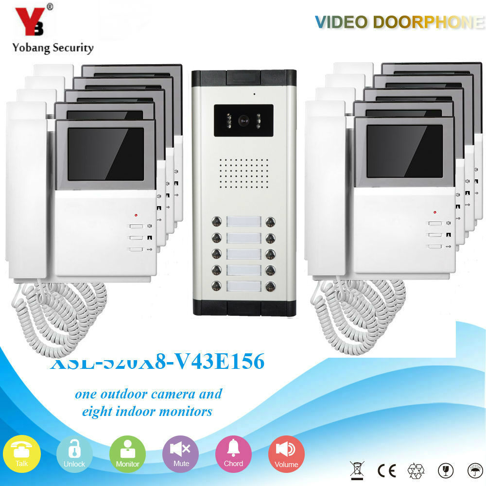YobangSecurity 4.3 Inch Colored Villa Video Doorbell Intercom The Home System Kit Night Vision With Handset For 10Unit Apartment