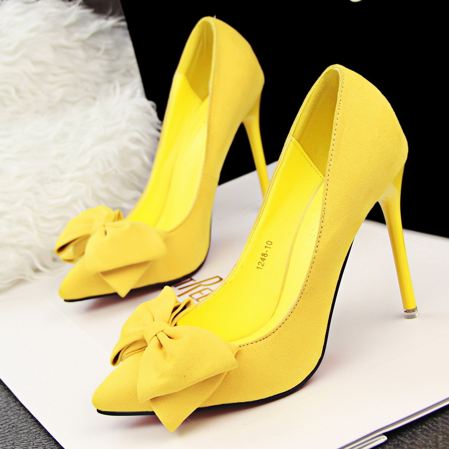 c8bb77f3167 Thin heels pumps pointed toe women shoes Sweet Pink bow black velvet ...