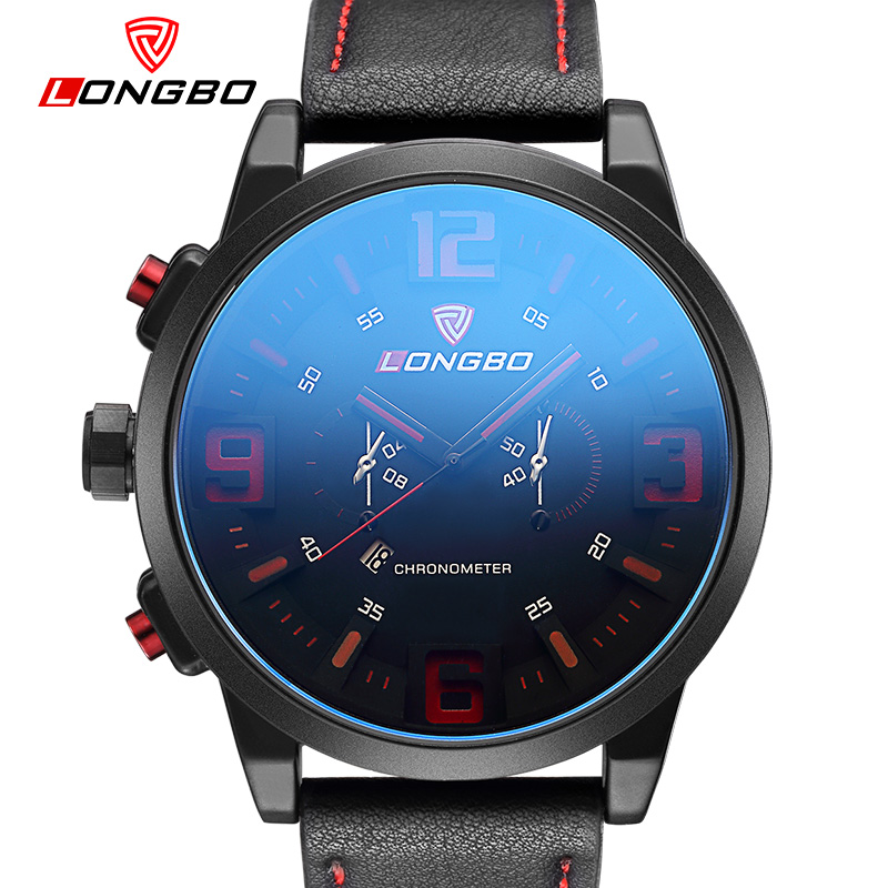 LONGBO Luxury Brand Military Sports Watch Men Quartz Analog Large dial Leather Clock Man sapphire Glass Watch Relogios Masculino