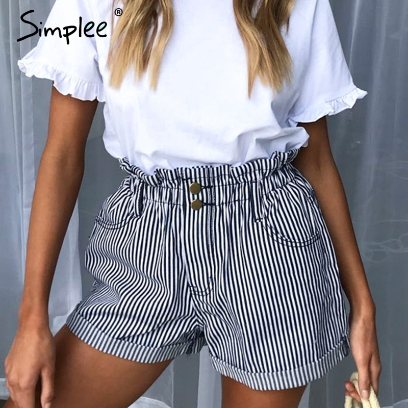 Simplee Casual striped shorts women's summer High wasit button loose fold bottom shorts Sexy streetwear cargo shorts female 2019