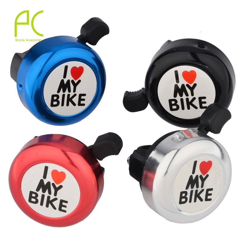 PCycling Bicycle Bell I Love My Bike Printed Clear Sound Aluminum Alloy MTB Road Bike Alarm Warning Mini Ring Bell for Children