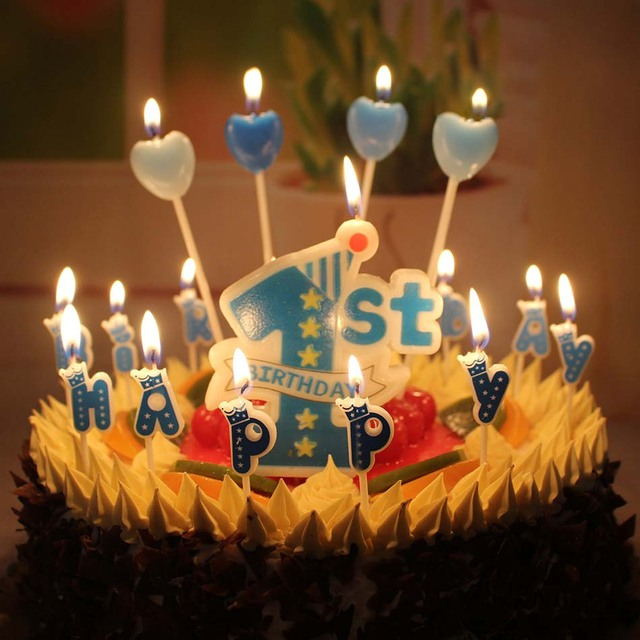Wholesale New Baby Years Old Big 1 Digital Candle Blue Pink Smoke Free Cake Decoration