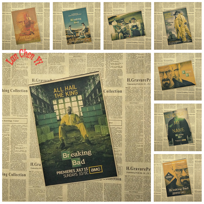 Prisvindende film Breaking Bad Kraft Papir Plakat Retro Nostalgisk Kreativt Design Indvendig Dekoration Maleri
