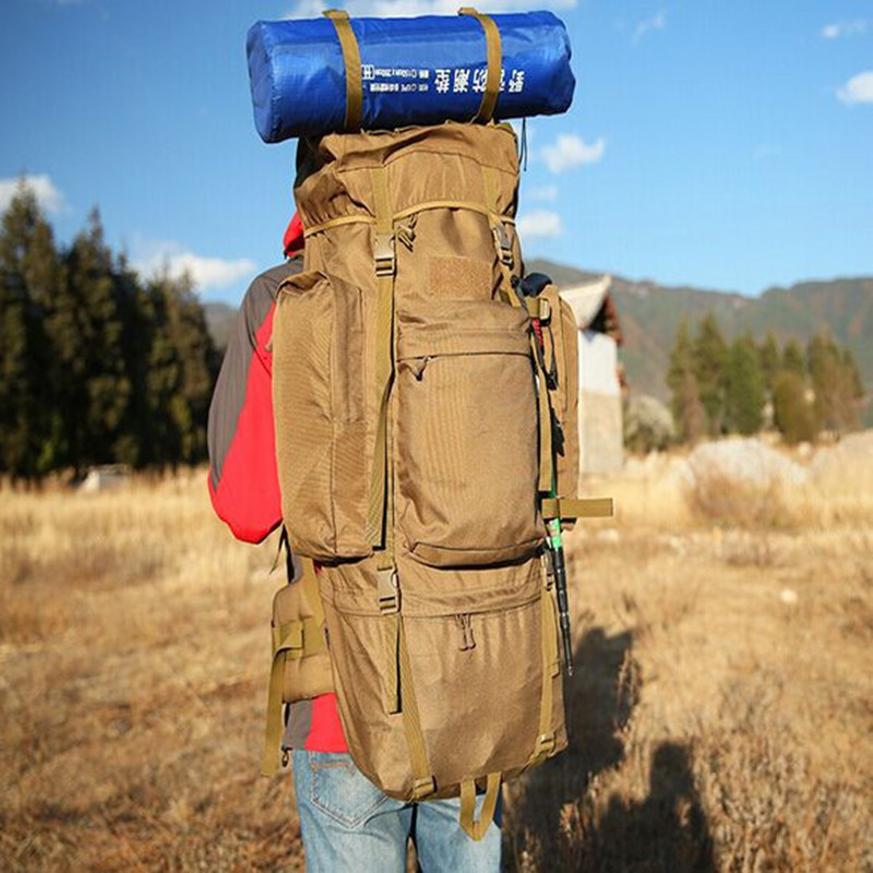 Outdoor Hiking Travel Nylon Waterproof Luggage Bag Backpack Camping Climbing Training 100L Big Capacity Wearproof Sport
